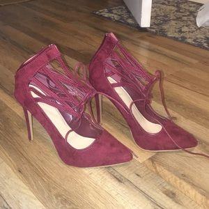 Maroon Velvet Heel